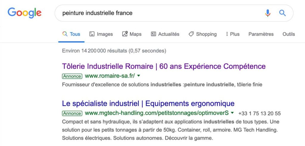 Exemple google Ads