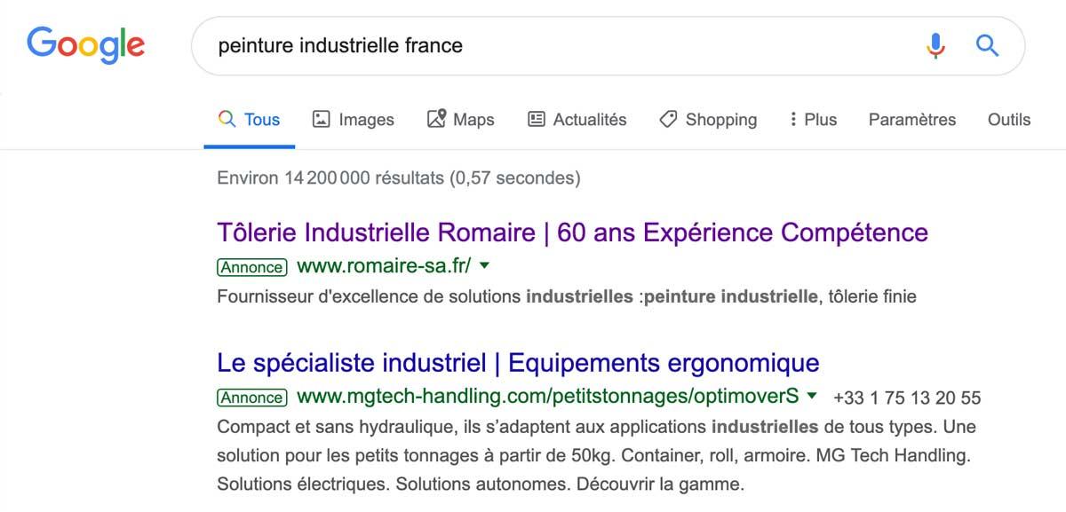 Exemple google Ads